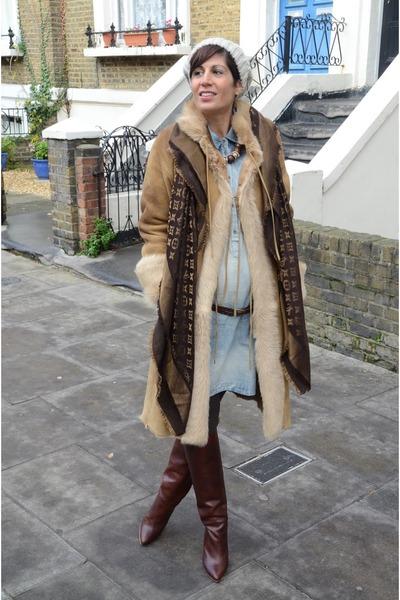 maison martin margiela boots - Topshop dress - Louis Vuitton scarf
