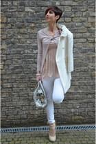 white dondup jeans - silver Miu Miu bag - light pink Topshop heels