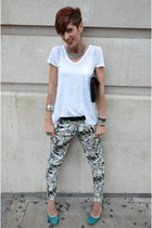 Miu Miu heels - Zara pants - American Apparel t-shirt