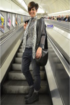Alexander McQueen scarf - Zara boots - Guess jeans - All Saints sweater