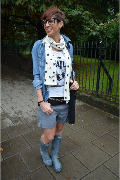 H&M t-shirt - Hunter boots - Guess shirt - Zadig&Voltaire scarf - Guess shorts