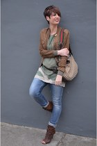 brown Guess jacket - teal Dixie dress - Diesel jeans - light brown Gucci bag