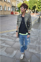 Zara jacket - Guess jeans - Zadig&Voltaire t-shirt - Leather Crown sneakers