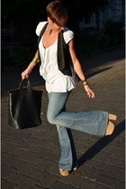 Guess jeans - Pinko shirt - calvin klein bag - Topshop wedges - Guess vest