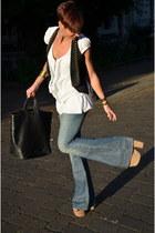 Guess jeans - Pinko shirt - calvin klein bag - Topshop wedges - Guess vest