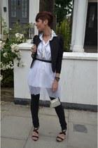 white Topshop shirt - black J Brand jeans - black H&M blazer - black BCBG heels