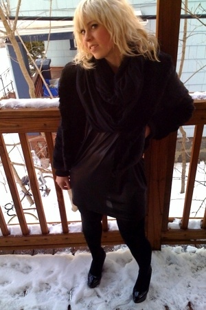 hm jacket - aa scarf - f21 dress - hm tights - Bebe shoes