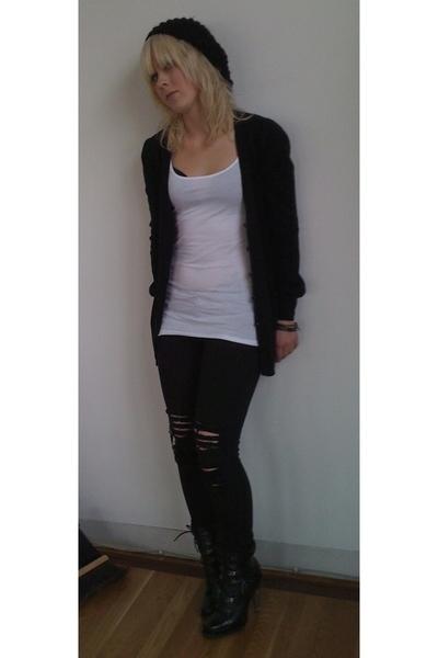 hm shirt - hm sweater - hm hat - tripp jeans - Jessica Simpson boots