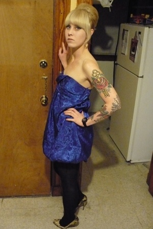 forever 21 dress - hm tights - Christian Louboutin shoes