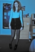 DKNY - skirt - tights - Jessica Simpson boots