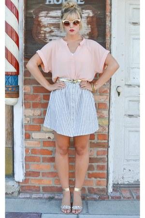 light pink H&M top - blue striped H&M skirt - tan gold NY & Company heels