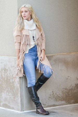 dark brown BedStu boots - neutral Sheinside coat - light blue Aeropostale jeans