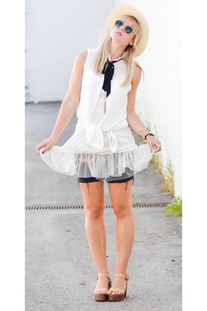 black Gap shorts - white Forever 21 top - ivory platform Forever 21 sandals
