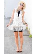 black Gap shorts - white Forever 21 top - ivory platform Forever 21 sandals