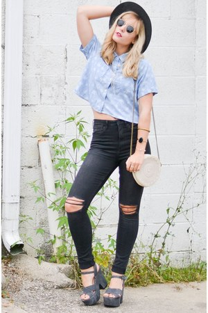 black hm jeans - heather gray Anthropologie hat - ray-ban sunglasses