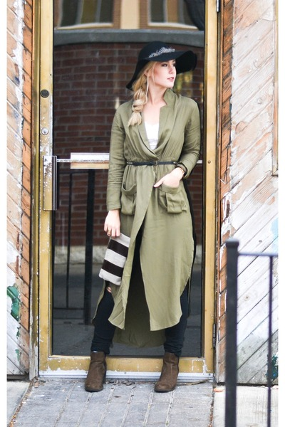 black H&M jeans - brown H&M boots - olive green Sheinside dress