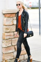 black faux leather Forever 21 jacket - Old Navy jeans