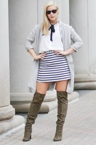 black striped Express skirt - over the knee Charlotte Russe boots
