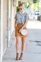 camel suede H&M skirt - brown Steve Madden boots