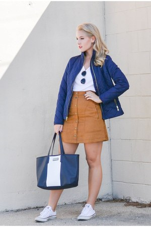 navy Old Navy jacket - Nautica bag - ray-ban sunglasses - suede H&M skirt