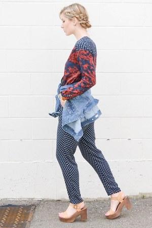 blue denim KUT from the kloth jacket - navy printed H&M jumper