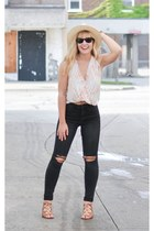 black H&M jeans - Forever 21 hat - black Ray Ban sunglasses