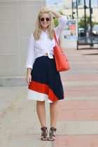 navy pleated Nautica skirt - burnt orange DSW bag - white button up Nautica top