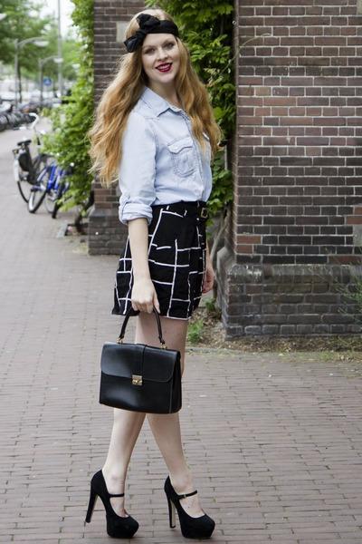 black viktor & rolf for h&m scarf - black vintage bag - black Monki shorts - lig