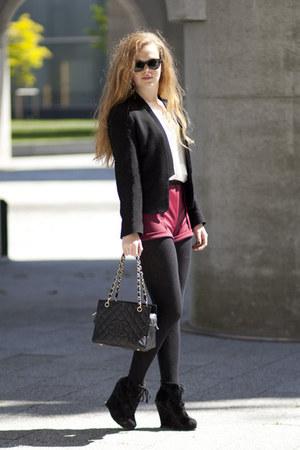 ruby red H&M Trend shorts - black Zara blazer - black Chanel bag