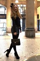 black Petit Bateau shirt - black viktor & rolf for h&m scarf - black vintage bag