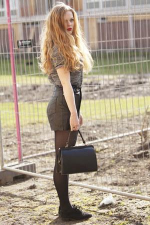 black vintage shorts - black Bertie shoes - black vintage bag