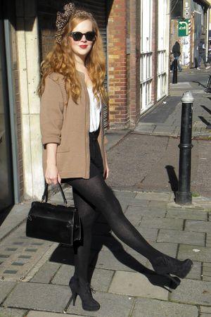 brown H&M scarf - black Ray Ban sunglasses - brown vintage cardigan - white Peti