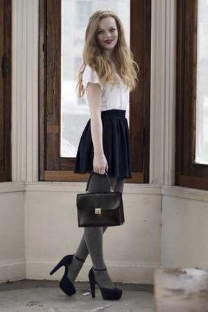 heather gray De Bijenkorf Collectie tights - black vintage bag - navy American A