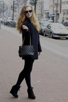 black New Look Limited Edition wedges - navy Gap coat - black Chanel bag