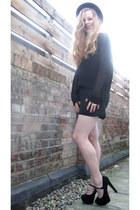 black American Apparel dress - black vintage hat - black H&M sweater - black Top
