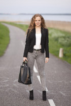 black Zara blazer - heather gray H&M jeans - black Zara bag - black belt