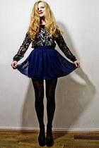 black h&m divided top - navy American Apparel skirt - black new look heels