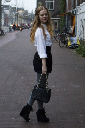 white Mexx blouse - black H&amp;M skirt - heather gray De Bijenkorf Collectie tights