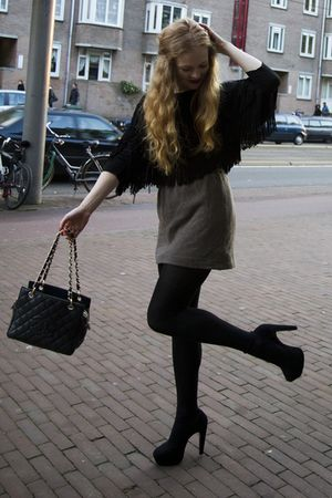 black new look shoes - black Chanel bag - brown vintage skirt