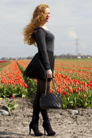 black Bershka boots - black Chanel bag - black American Apparel skirt