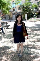 black Topshop cardigan - blue crossings skirt - blue random brand top - brown Ch