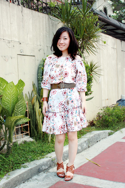 beige from greenhills dress - brown from hongkong shoes - brown bijouxdelou brac