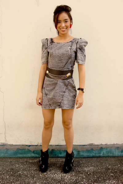 black Glitterati belt - gray Bazaar dress - black Summersault shoes