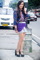 purple animal print Forever 21 top - black mary janes Forever 21 shoes