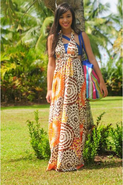 orange Moonshine dress - blue Glitterati swimwear