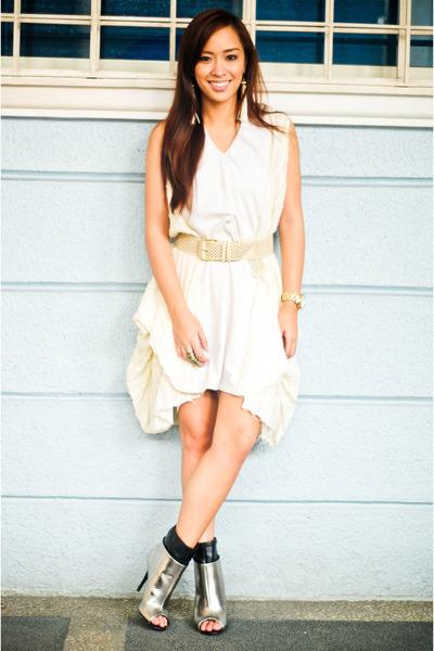 af19b92dcf3 silver boots shoes - white lovevintage dress - beige belt random brand  accessori