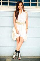 silver boots shoes - white lovevintage dress - beige belt random brand accessori