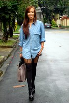 black boots Topshop shoes - black Topshop tights - blue denim polo Topshop top -