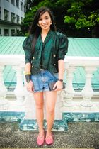 green random from Hong Kong top - blue From my sisters closet shorts - pink pean