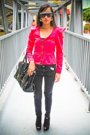 pink Wisdom blazer - black jeans - black Topshop shoes - black CMG purse - gold